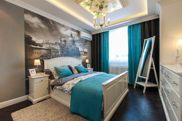 Designs Stupéfiants Pour Une Chambre Turquoise - Chambre adulte noir et beige