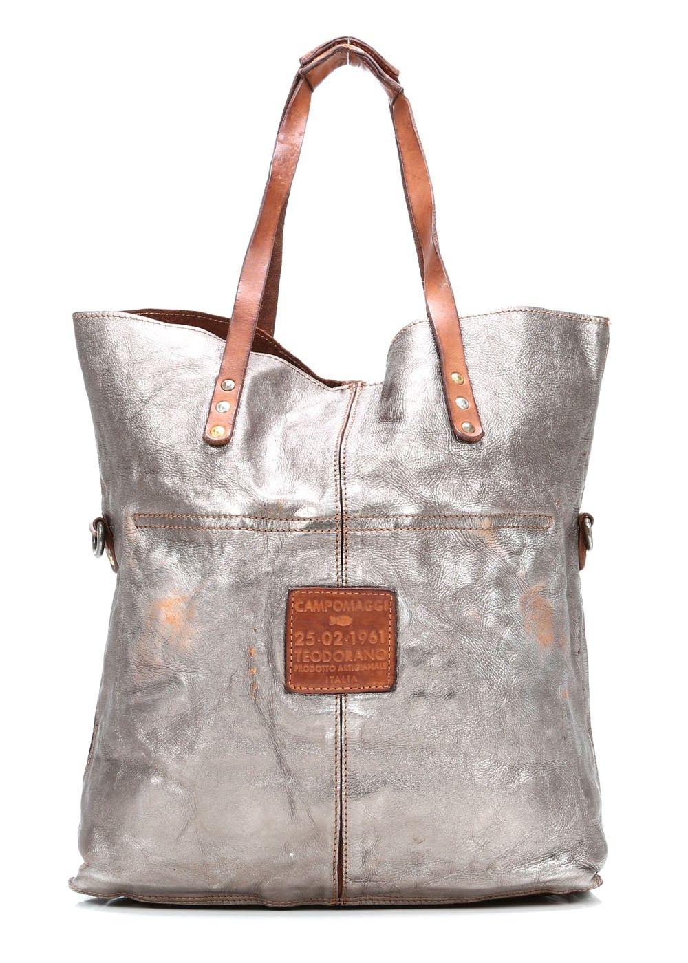 Lavata Shopper Leder Silber 45 Cm Bags Leather Handbags Leather