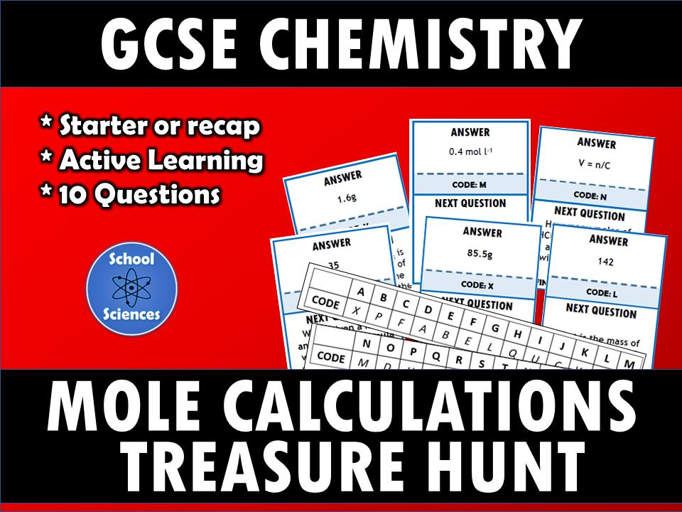 Mole Calculations treasure hunt Gcse science revision