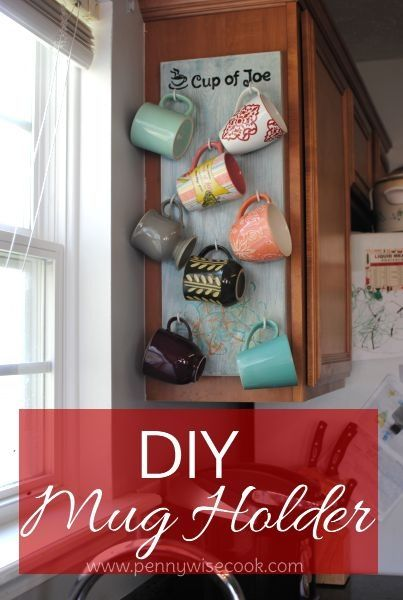 I Want To Hang My Mugs On Side Of Cabinet But Using Accordion Rack Near The Coffee Maker And Toaster Counter For A Pop O With Images Diy Mugs Diy Coffee