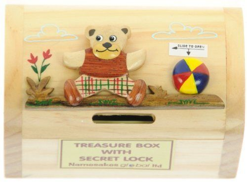 Bear & Ball : Money Box with Secret Lock : Handcrafted Wooden Treasure Chest : Top Gift Idea : High Quality Traditional Present For Boys, For Girls, For Him, For Her, For Children & For Fun Loving Adults! 30+ Designs (Size 12x9x7cm):Amazon.co.uk:Toys & Games