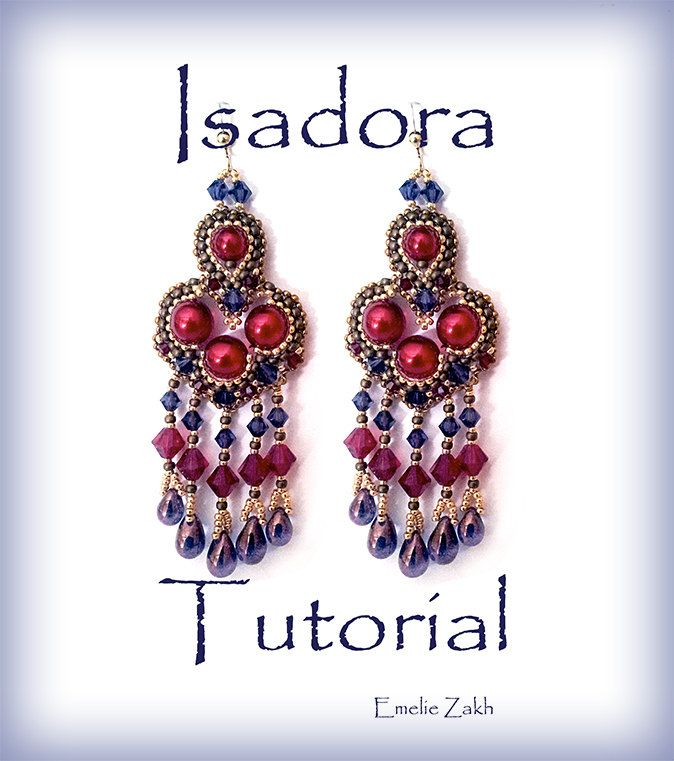Beadweaving pattern earrings Isadora Beading tutorial Beaded pattern earrings PDF instructions earrings red earrings earrings tutorial