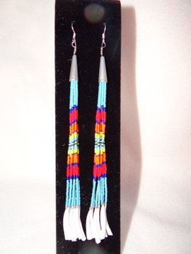 Long Strand Beaded Earrings with Dentalium - Native American Style