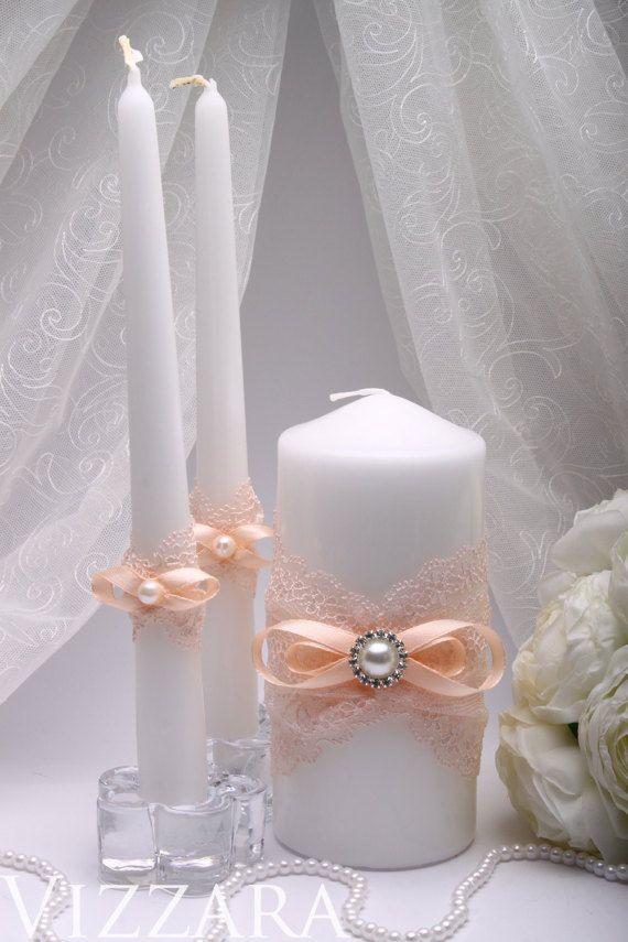 Peach Wedding Unity Candle Personalized Ceremony Set Decor Ideas