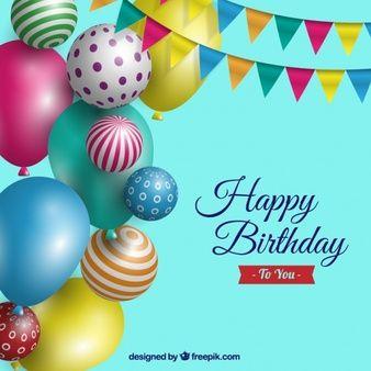 Fondo de cumpleaños con globos realistas - Verjaardag