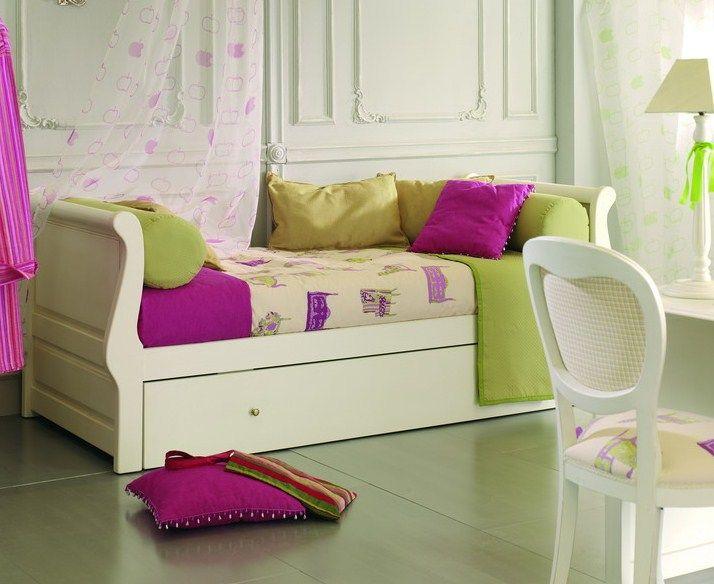 Cama nido gondola en madera de pino macizo acabado lacado blanco incluye dos somieres de - Somieres cama nido ...