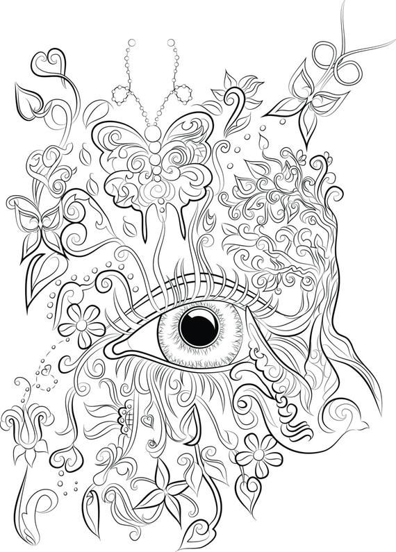 Instant Digital Download Eyeball Colouring Page From Chandraws Mind Escape Nature Fantasy Butterfly Coloring Page Love Coloring Pages Mandala Coloring Pages