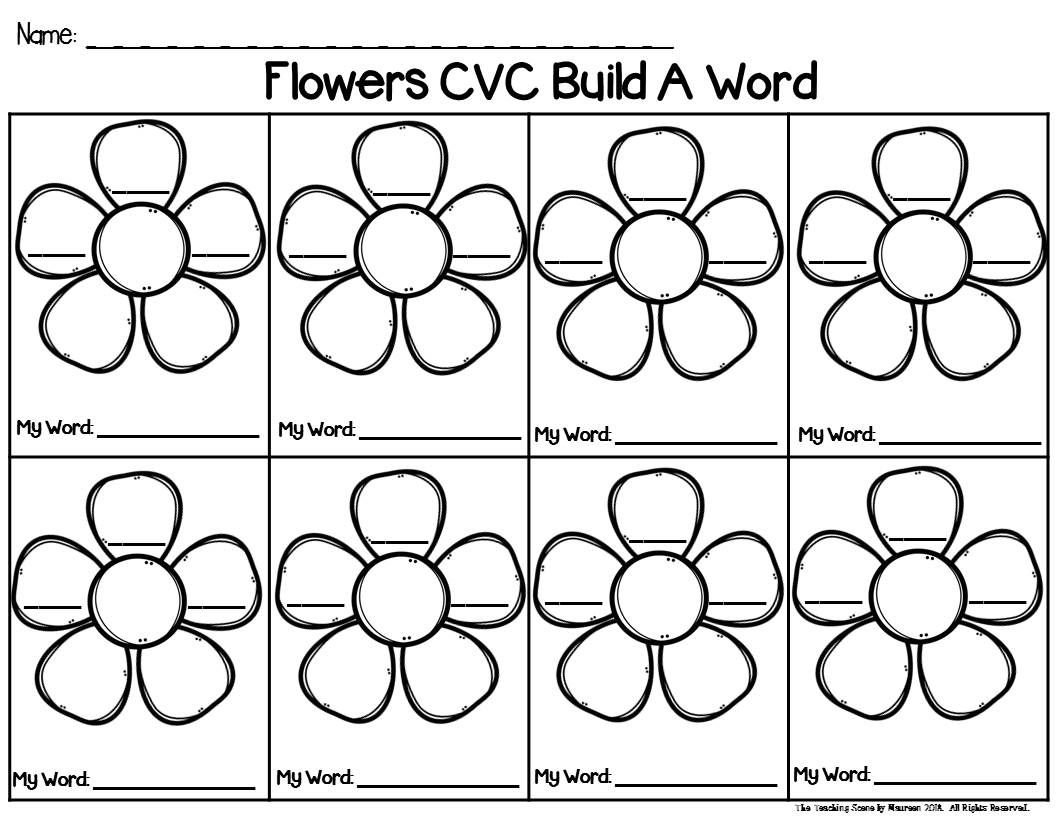 Build A Flower With Short Vowel Words Phonics Center