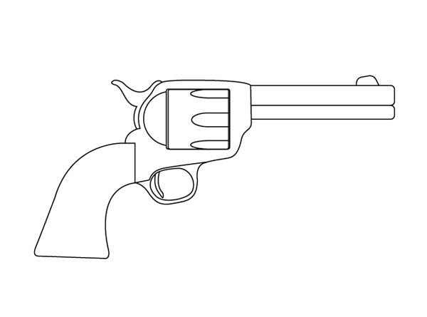 One Line Art Gun : Gun outline drawing of a dads stuff
