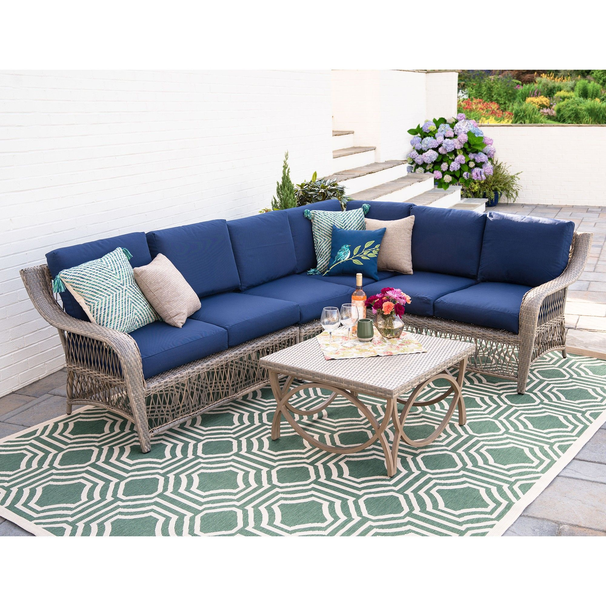 Super 5Pc Birmingham All Weather Wicker Corner Sectional Navy Home Interior And Landscaping Ologienasavecom