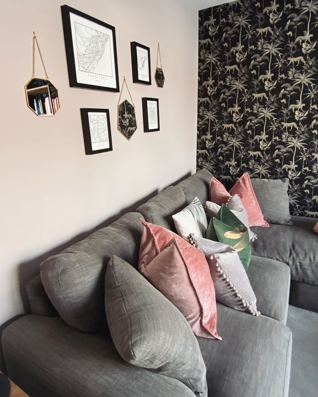 Loving our Savannah leopard Palm Tree Wallpaper Black & Gold here! Looks lush with those pink accessories! 😍  Photo Credit: @tasselsandbees   #decoratingcentreonline #dco #modernhome #interior123 #interiordesire #interiordetails #interiorforinspo #interiorstylist #houseenvy #homereno #interior123 #homedetails #homedecorideas #whitewalls #ihavethisthingwithcolour #myhomevibe #eclecticdecor #currentdesignsituation #sodomino #howwedwell