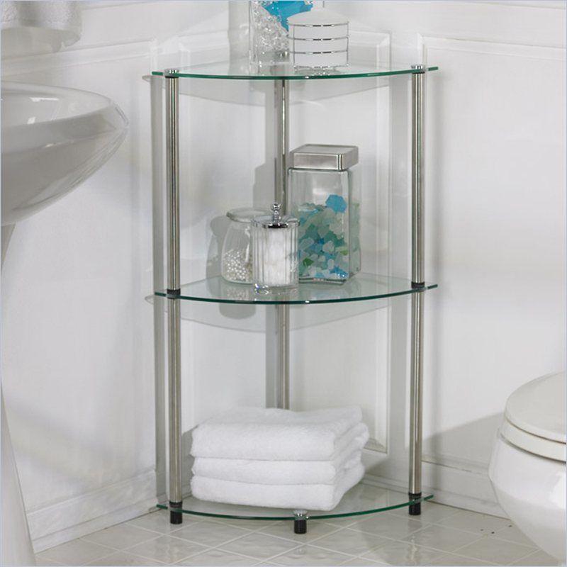 3 Tier Gl Shelf Storage Tower Organizer Bathroom Counter Room Corner Towel Convenienceconcepts Contemporary