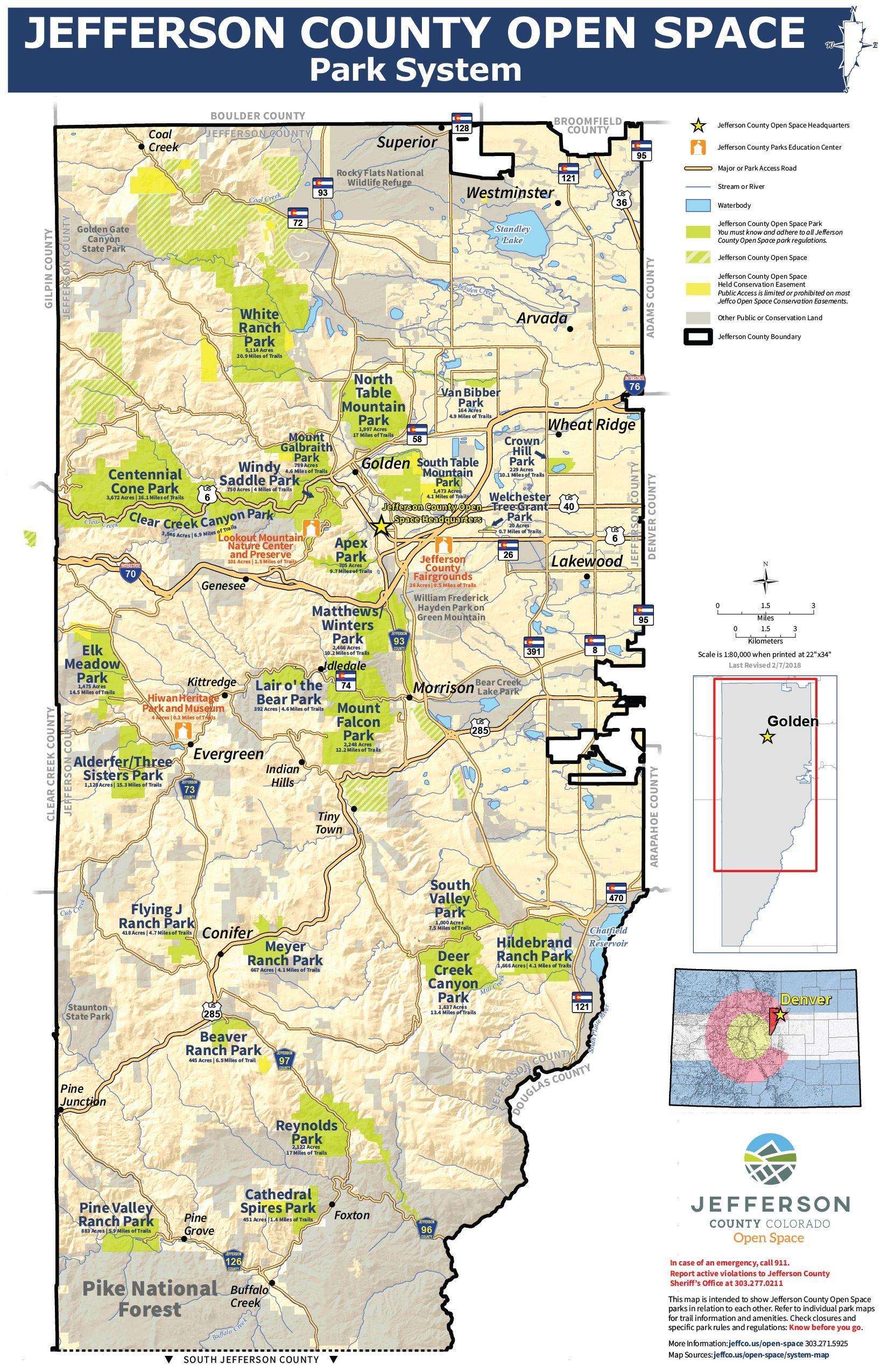 Jefferson County Colorado Map Jefferson County Park List   Jefferson county, System map, County park