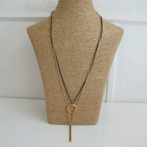 New-Pendant-Necklace-Black-Gold-colour-long-Double-Layer-Bar-And-circle-Chain