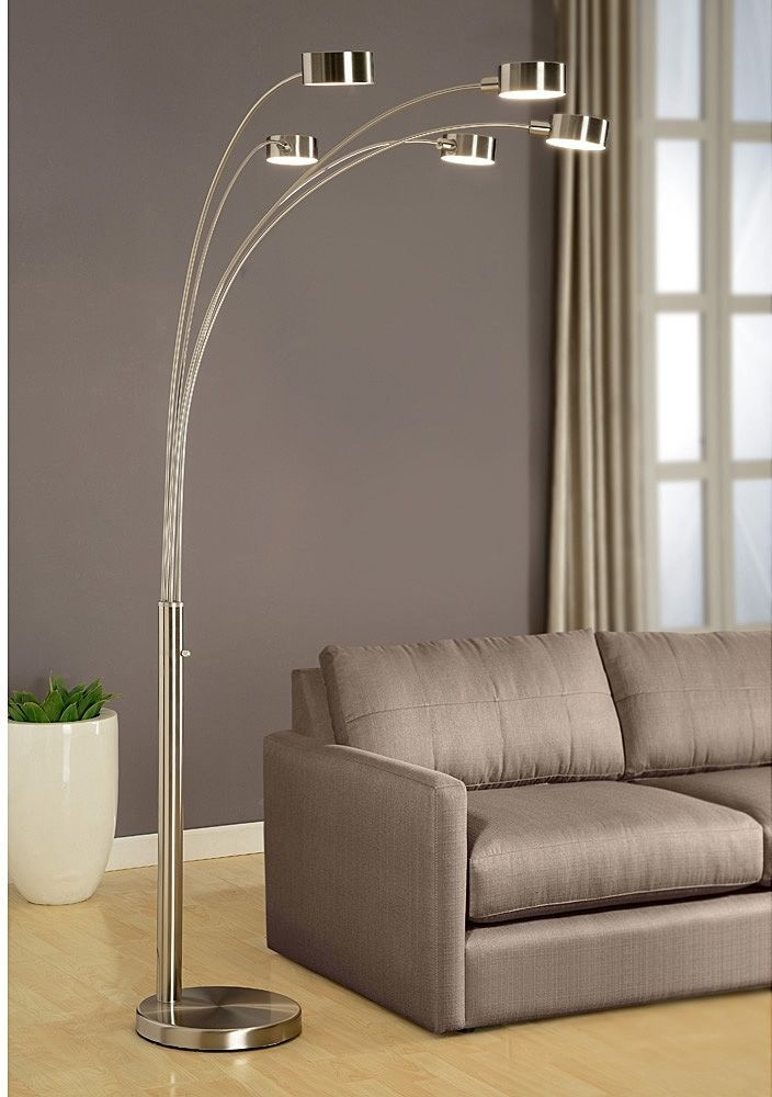 Arched Brushed Steel Five Light Inch Floor Lamp