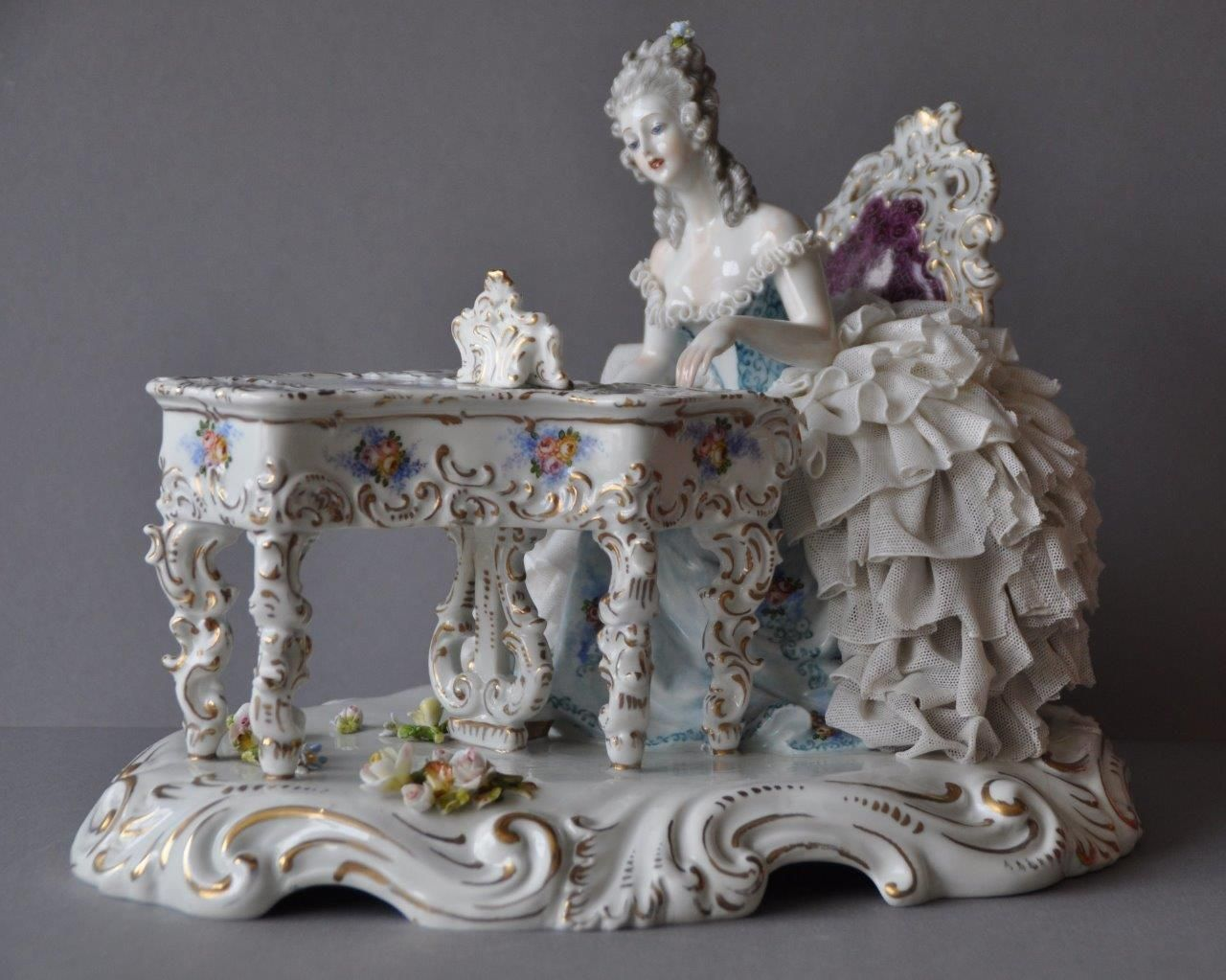 Large Porcelain Dresden Lace Figural Music Pianist Figurine Capodimonte Group . | eBay