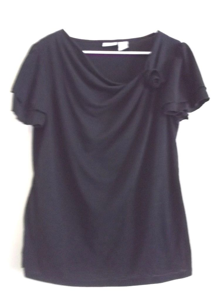 Women S Misses Short Sleeve Kim Rogers Blouse Shirt Top Size Xl In