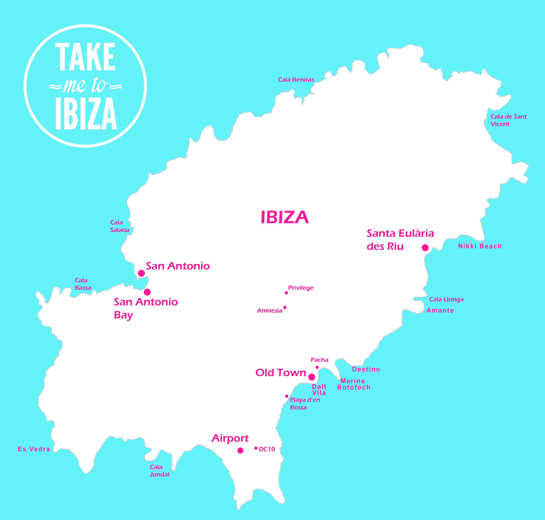 Ibiza Karte Playa D En Bossa.Map Of Ibiza Showing Some Key Attractions Ibiza Ibiza
