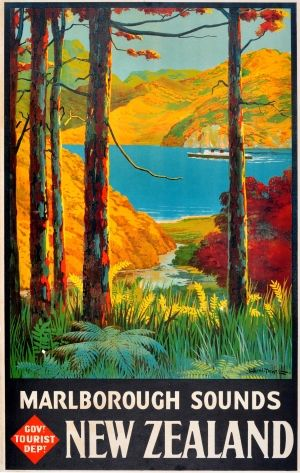 New Zealand Marlborough Sounds, 1930s - original vintage poster by Leonard Cornwall Mitchell listed on AntikBar.co.uk