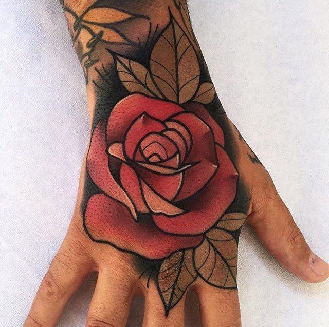 3e91a22c1 @xsophiexreneex Neo Traditional Roses, Traditional Rose Tattoos, Tatoo Rose,  Rose Hand Tattoo