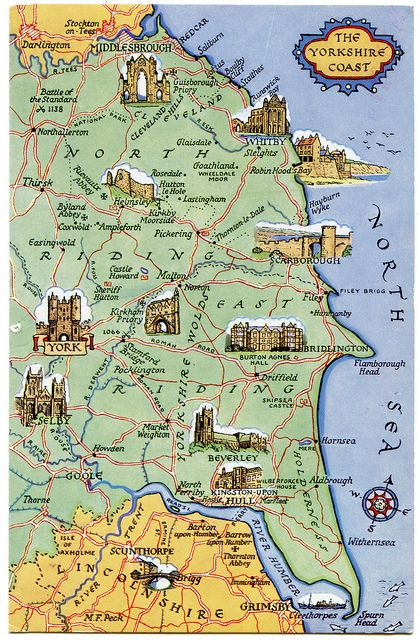Map Of Yorkshire Coast Postcard map of the Yorkshire Coast | travels | Yorkshire, England  Map Of Yorkshire Coast