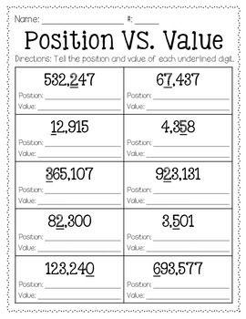 position vs value freebie math matematica ejercicios cuarto grado tercer grado. Black Bedroom Furniture Sets. Home Design Ideas