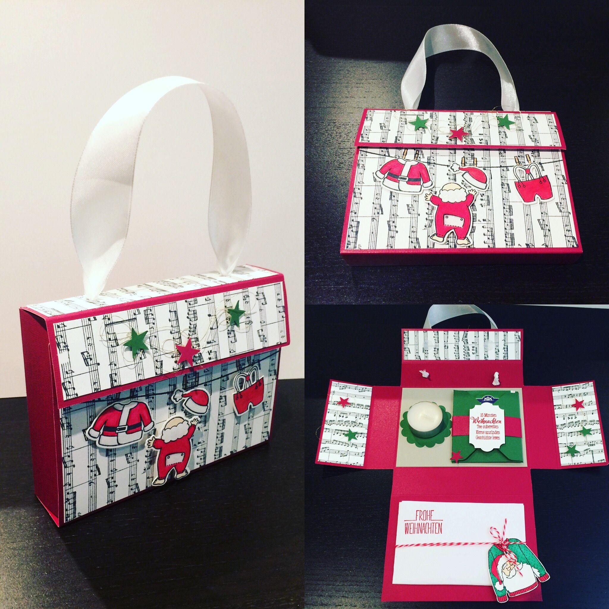 Stampin UP Santas Suit 15 Minuten Weihnachten Box Sheet Music Stamp Stempel