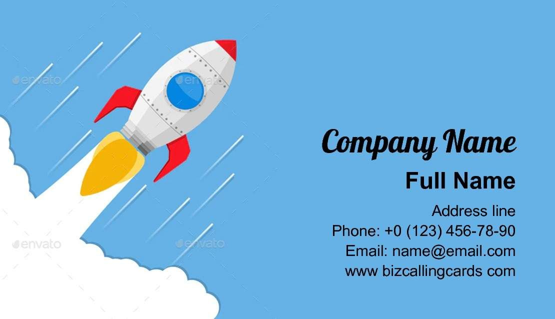 Create Online Flying Rocket Business Card Template Business Card