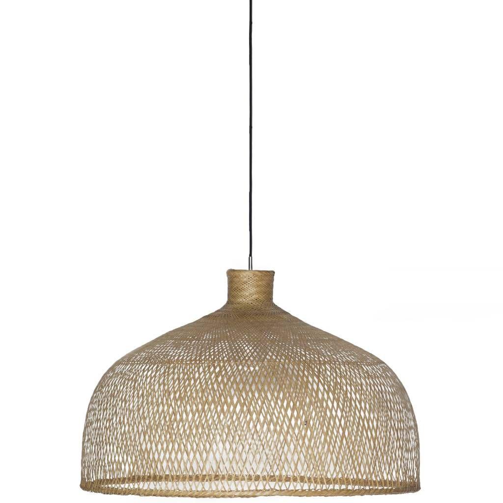 Hanglamp Bamboo M1 bruin bamboe ø75x47cm   Led lamp