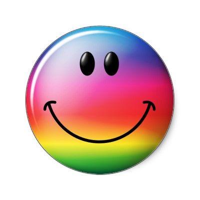 rainbow smiley face sticker by tshirtmonkey rainbow colors rh pinterest com Yummy Smiley Face Clip Art Drinking Smiley Face Clip Art