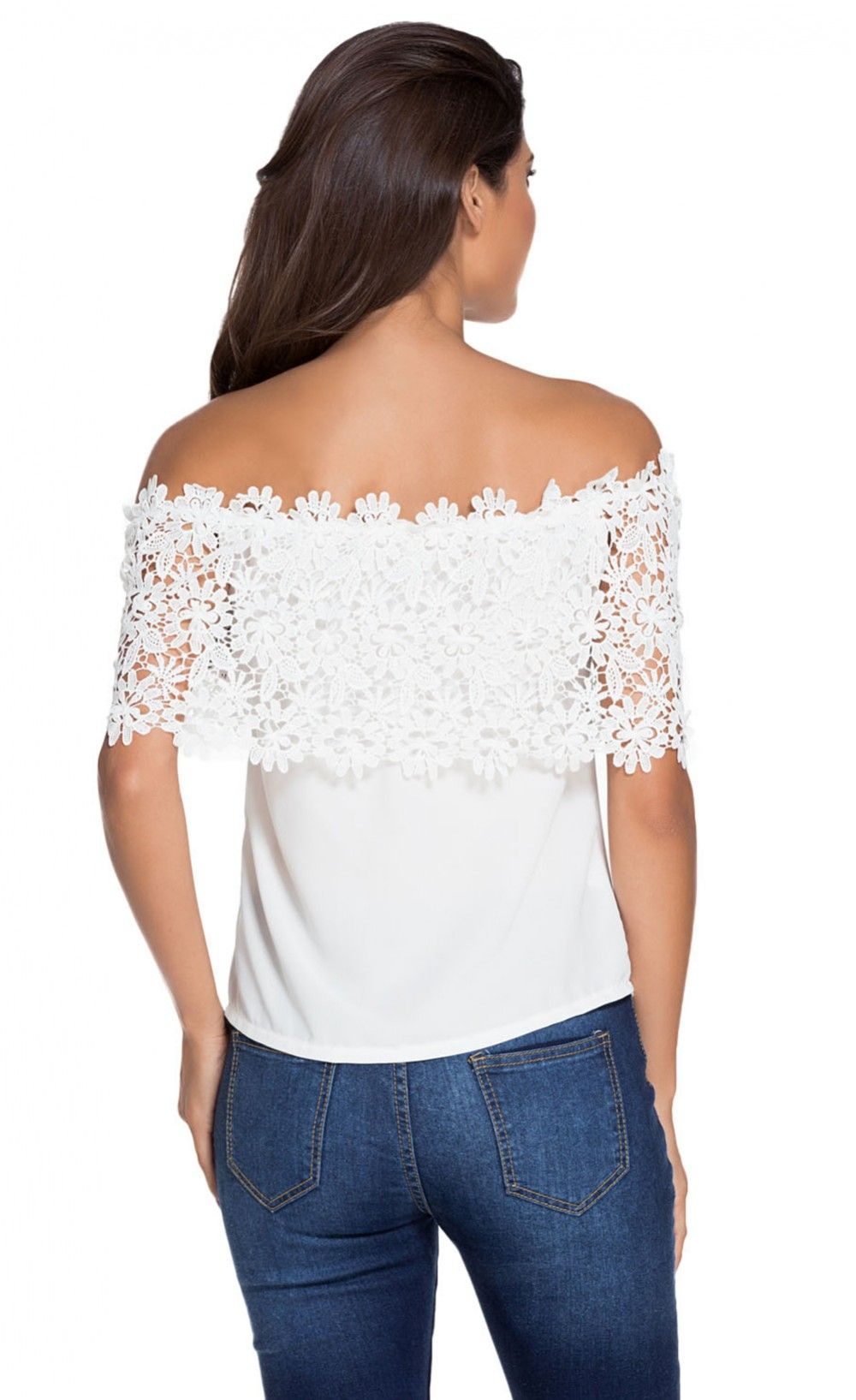 Lace Spliced Off Shoulder Chiffon Top