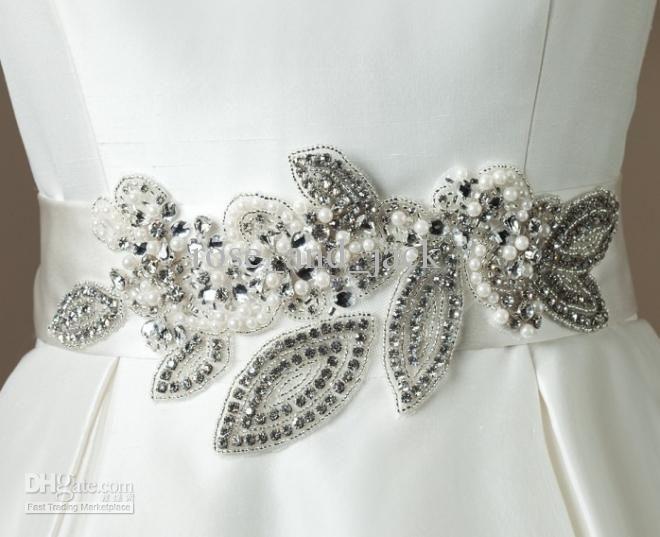Sparkling beautiful pearl beaded wedding dresses belt wedding ...