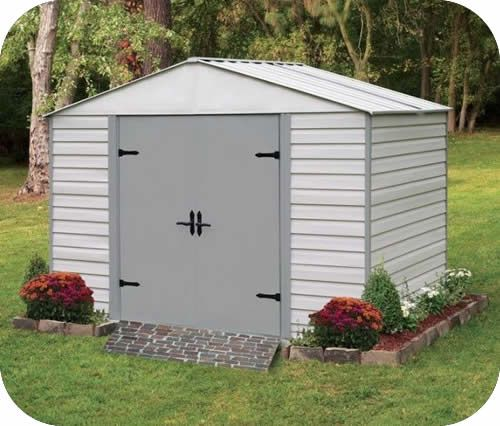 Arrow 10x7 Viking Vinyl Coated Steel Shed Kit Steel Storage Sheds Steel Sheds Rubbermaid Storage Shed