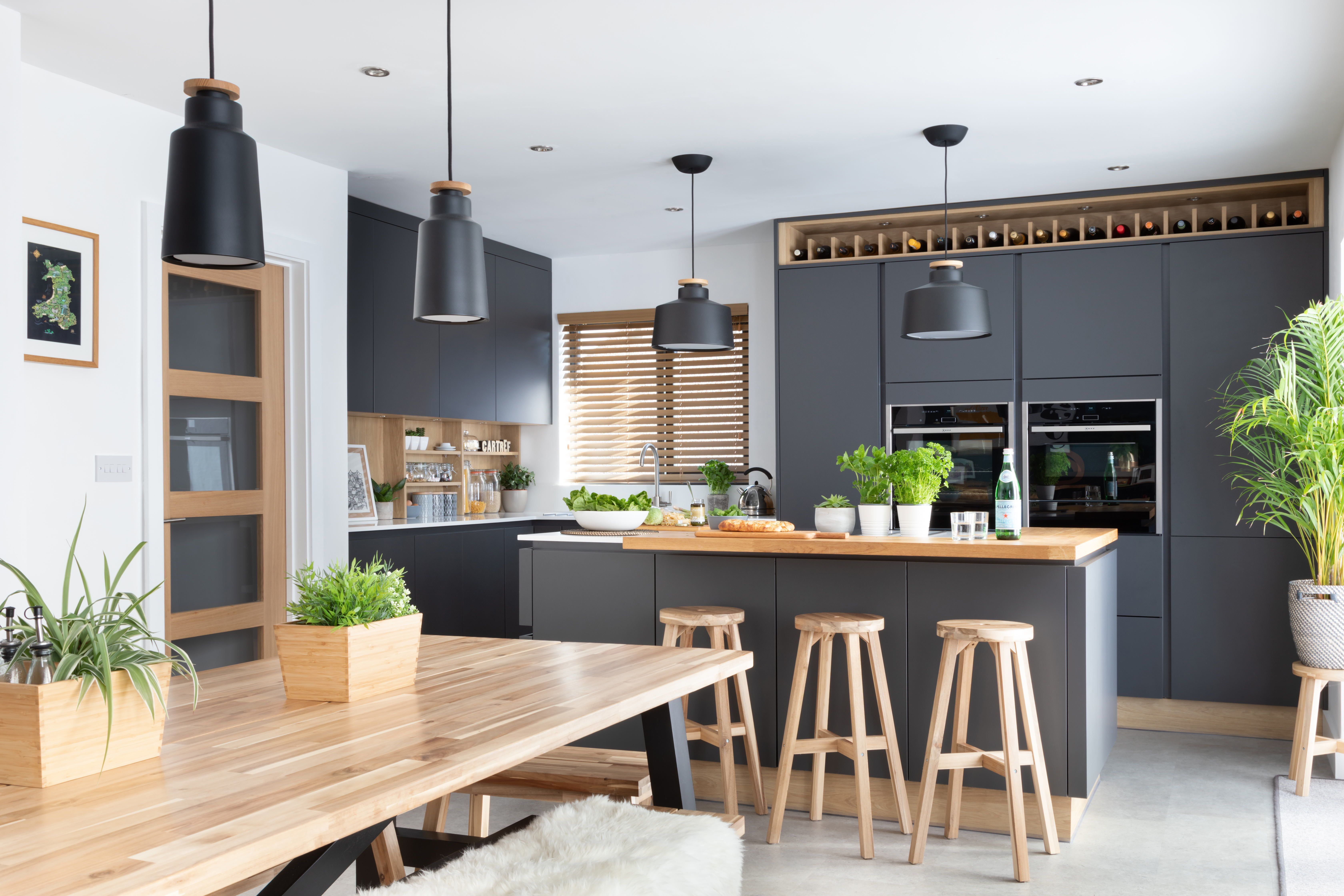 stunning modern handleless kitchen mixing dark grey and wood effect cabinets pictured h line on kitchen interior grey wood id=95267