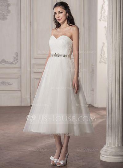 9ab8aee7e4c2 A-Line/Princess Sweetheart Tea-Length Satin Tulle Wedding Dress With Ruffle  Beading Sequins (002058769)
