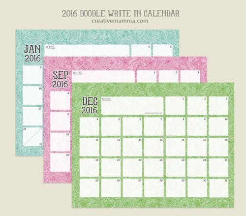 Creative Digital Calendar free printable: 2016 doodle write in calendarcreative mamma