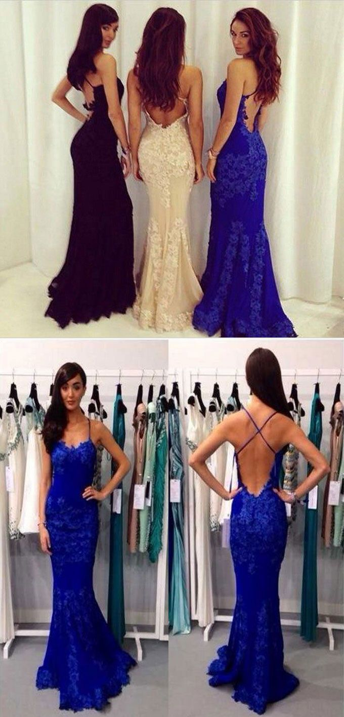 Royal blue mermaid long prom dress with appliques lace from