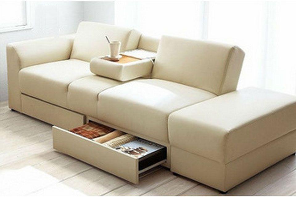 Sof cama con mesa y cajones incluye taburete salas for Sofa cama con cajones