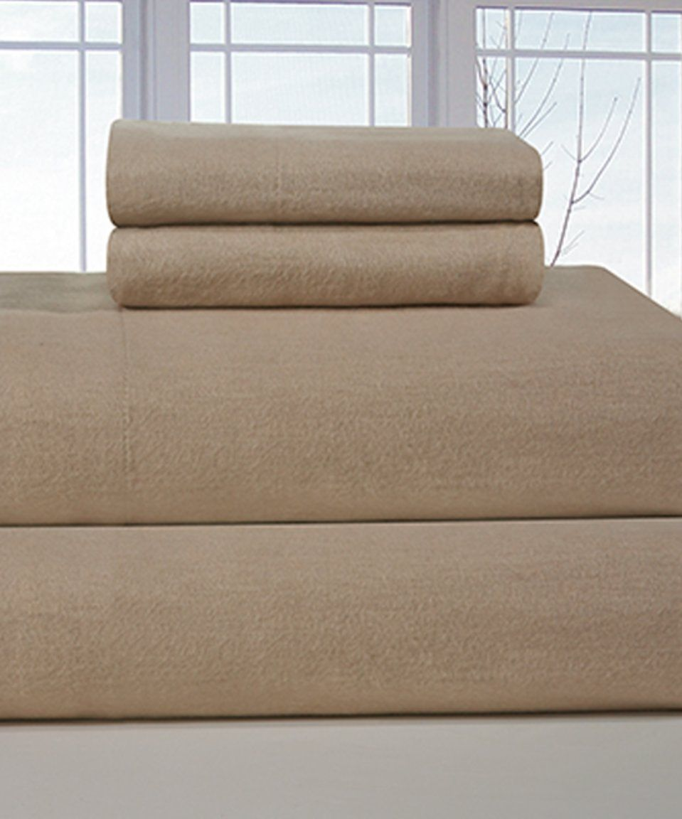 take a look at this beige flannel deep pocket sheet set today