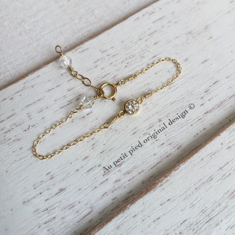 Gold baby bracelet birthstone bracelet baby boy gift baby girl