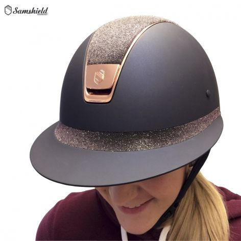 Samshield Miss Shield Navy Shadowmatt Riding Hat With Antique Pink