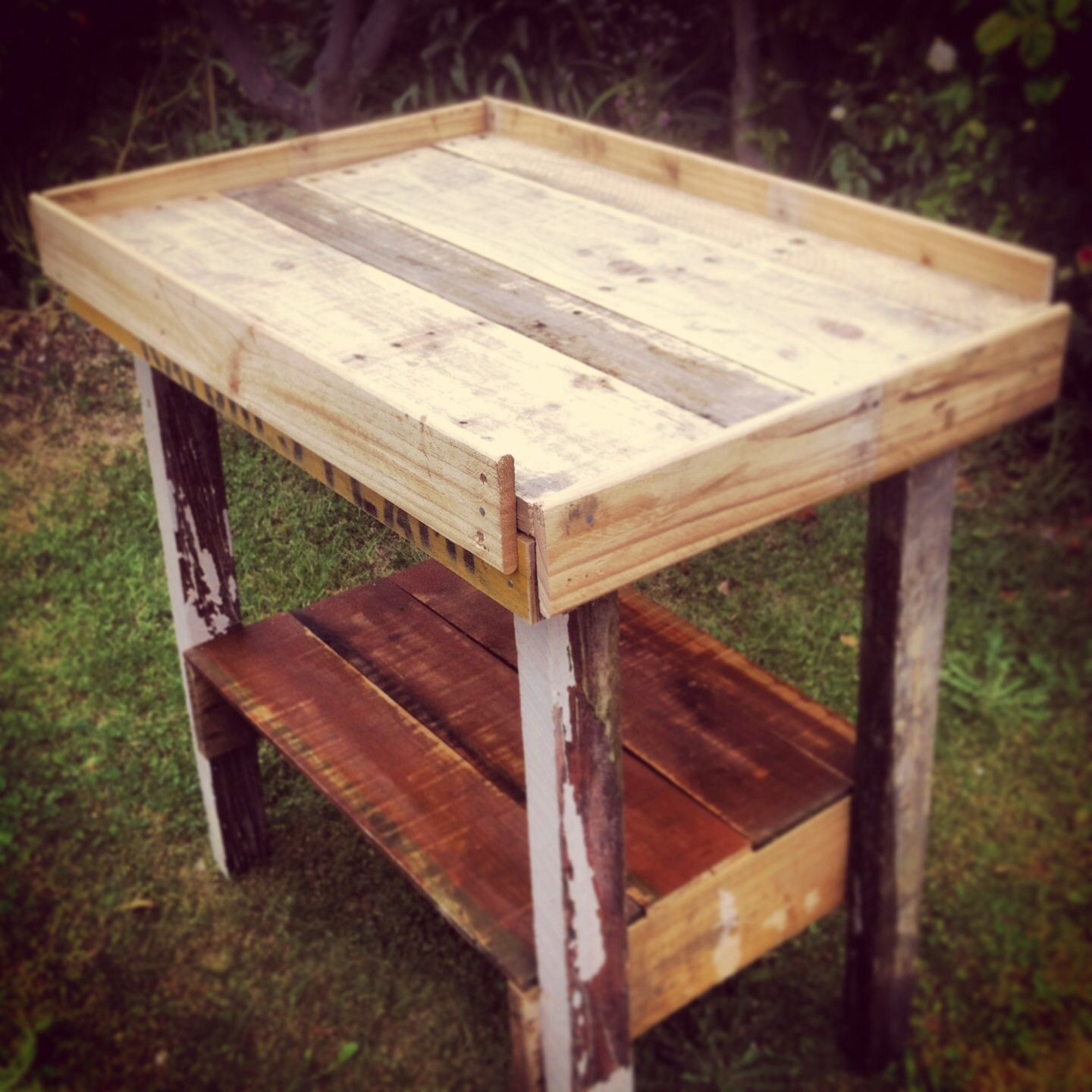 Nearly finished pallet baby changing table.