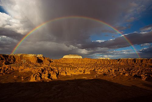 Rainbow over desert landscape, Utah. by whitphotography, via Flickr