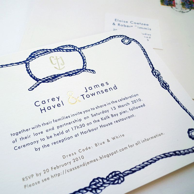 Modern Tying The Knot Wedding Invitations