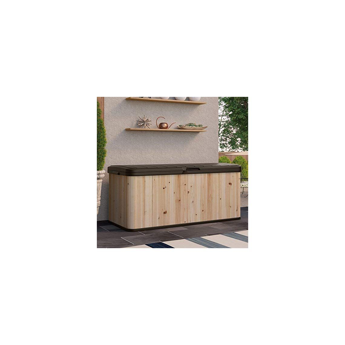 Suncast Extra Large Cedar And Plastic 120 Gallon Deck Box Wrdb12000 Dimensions 54 5l X 27 5w X 24 25h In Built From Cedar And Plastic Natural Wood Color