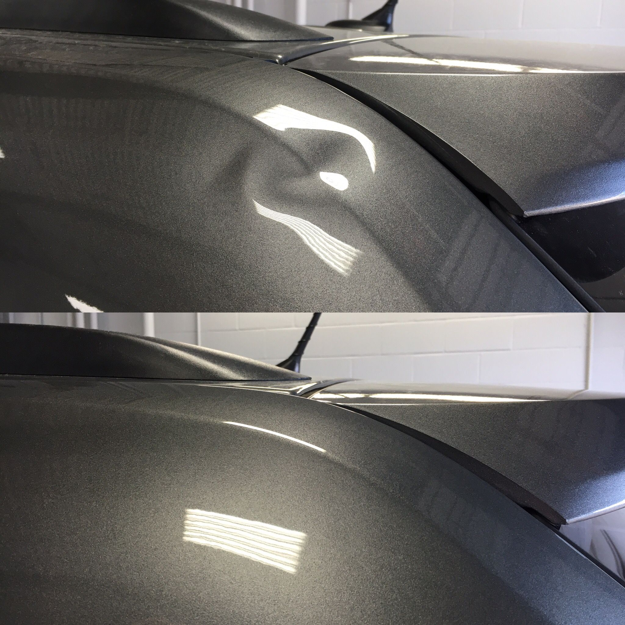 Rear Upper Bodyside Through The Body Line We Gained Access To Do This Paintless Dent Repair From The Back Side By Removing The Ta Car Dent Repair Car Dent Car