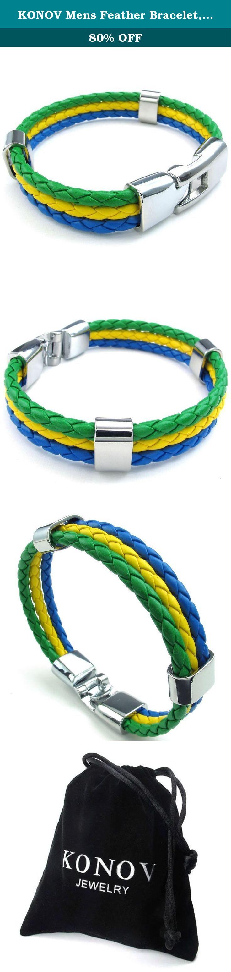 Konov Mens Feather Bracelet, Brazilian Brazil Flag Cuff Bangle, Green  Yellow Blue, 8