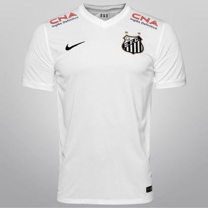Camisa Nike Santos I 14/15 s/nº - c/ Patrocínio - Branco+Preto