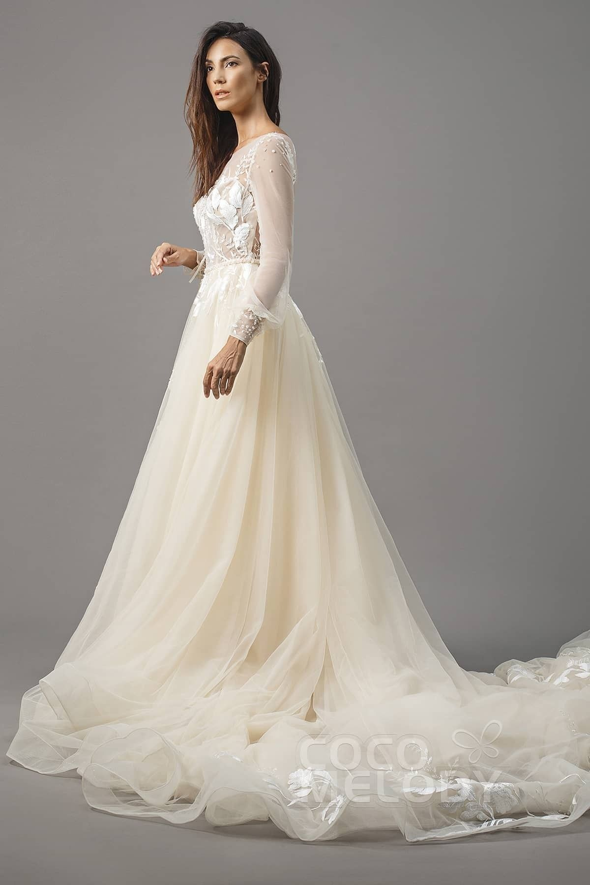 70aec1a48e006 Luxurious A-Line Illusion Natural Chapel Train Tulle Ivory/Champagne Long  Sleeve Zipper With Buttons Wedding Dress with Appliques Beading and Sashes  LD5199 ...