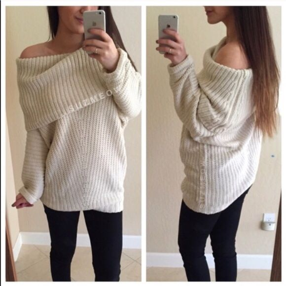 White loose sweater. Brand new. Size large. Great loose neck. Very comfy and warm. Size large. Brand new Sweaters